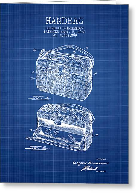 Handbag Patent From 1936 - Blueprint Greeting Card by Aged Pixel