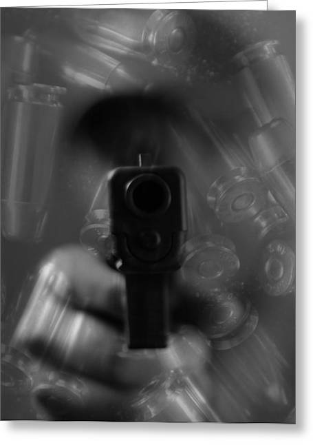 Handgun And Ammunition Greeting Card
