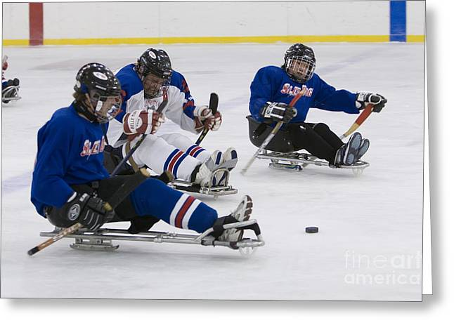 Handicapped Ice Hockey Players Greeting Card