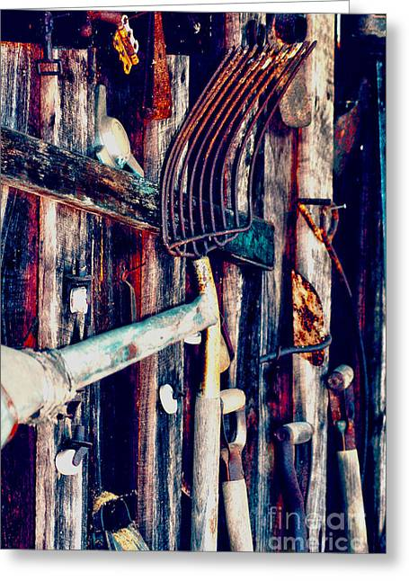 Greeting Card featuring the photograph Handles And The Pitchfork by Lesa Fine
