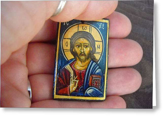 Handmade Handpainted Miniature Icon For Weddings And Baptismal Favors Greeting Card by Denise Clemenco