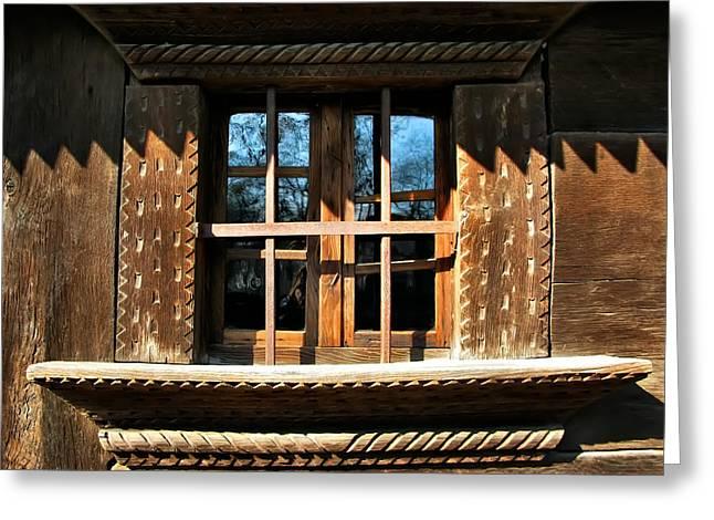 Handmade Wood Window Greeting Card by Daliana Pacuraru
