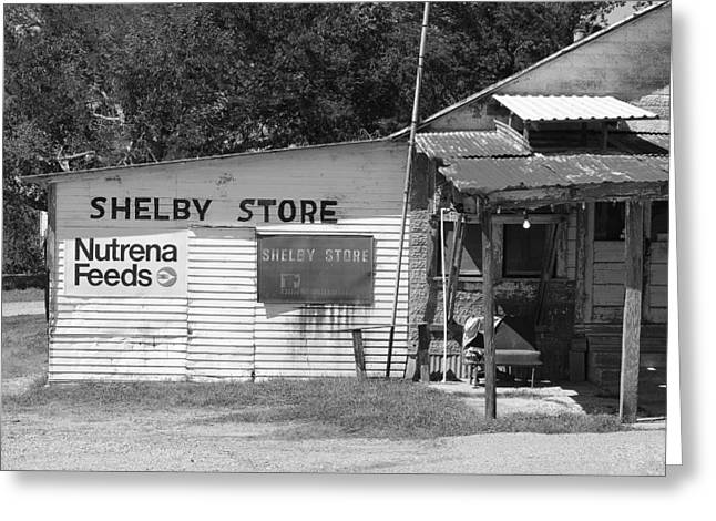 Handpainted Sign Shelby Store B W Greeting Card by Connie Fox