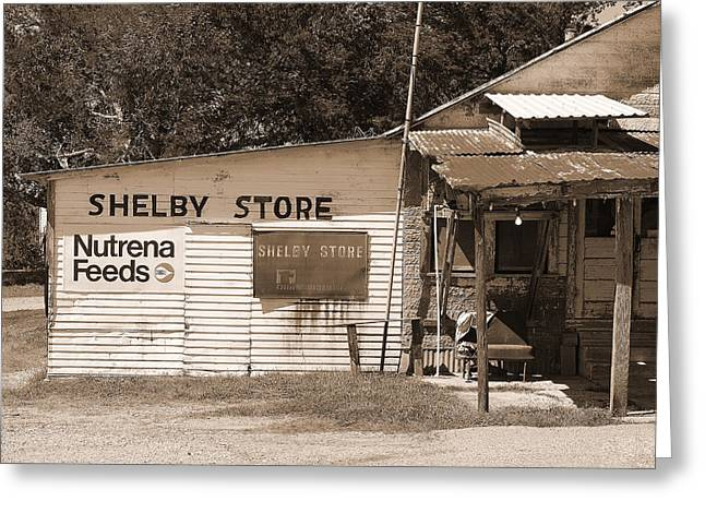 Handpainted Sign Shelby Store  Greeting Card by Connie Fox