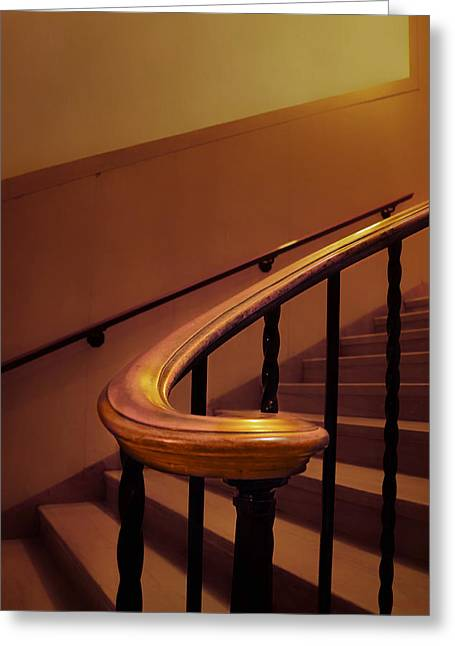 Handrail - Stairs - Nebraska Capitol Building Greeting Card by Nikolyn McDonald