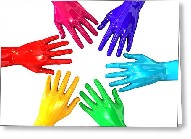 Hands Colorful Circle Reaching Inwards Greeting Card