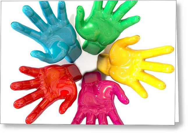 Hands Colorful Circle Reaching Skyward Greeting Card