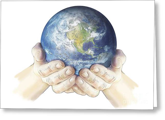 Hands Holding Planet Earth Globe, White Greeting Card by Carlyn Iverson