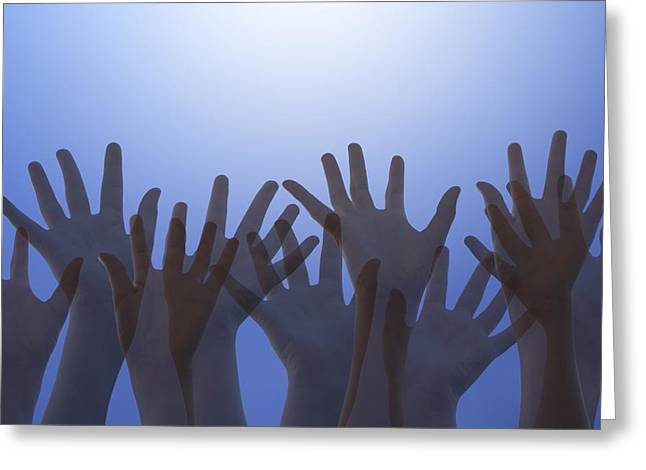 Hands Raised In Worship Greeting Card
