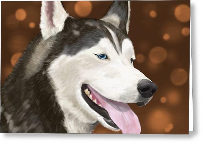 Handsome Siberian Husky  Greeting Card by Idan  Badishi