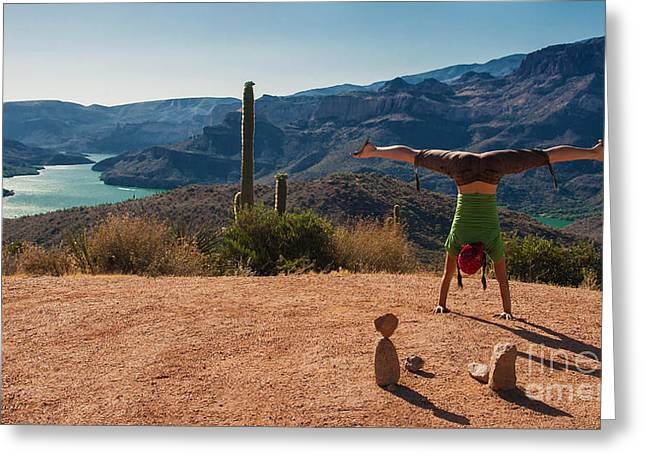Handstand At Apache Lake Greeting Card