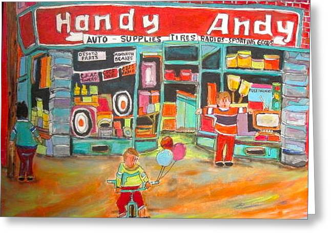 Handy Andy Montreal Memories Greeting Card by Michael Litvack