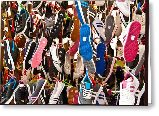 Hanged Colorful Sport Shoes Greeting Card by Leyla Ismet