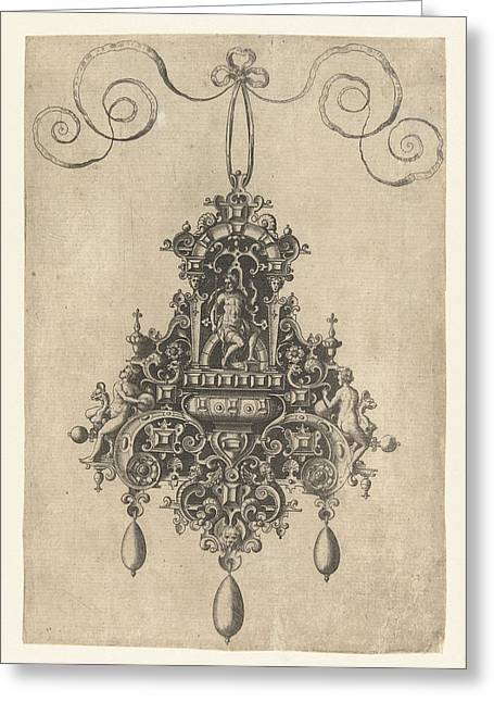 Hanger With Armored Seated Deity, Print Maker Anonymous Greeting Card