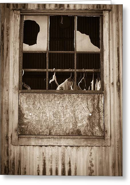 Greeting Card featuring the photograph Hangers In The Window by Randy Bayne