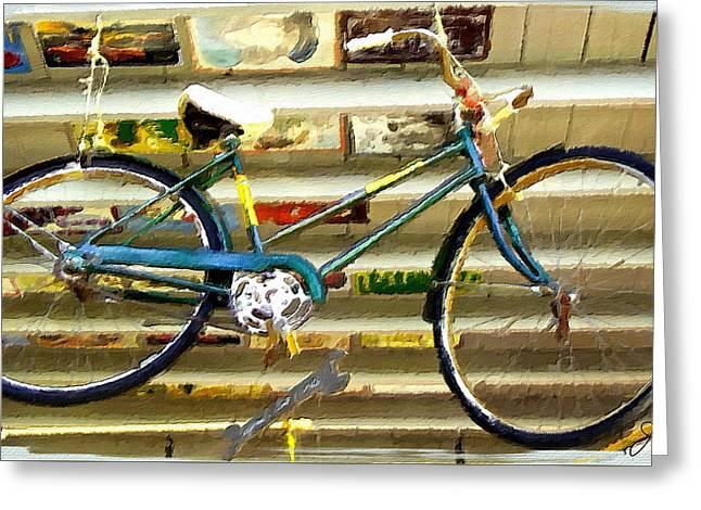 Hanging Bike Greeting Card