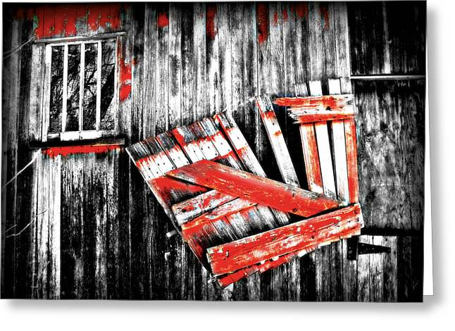 Hanging By A Few Nails Bw Greeting Card by Julie Hamilton