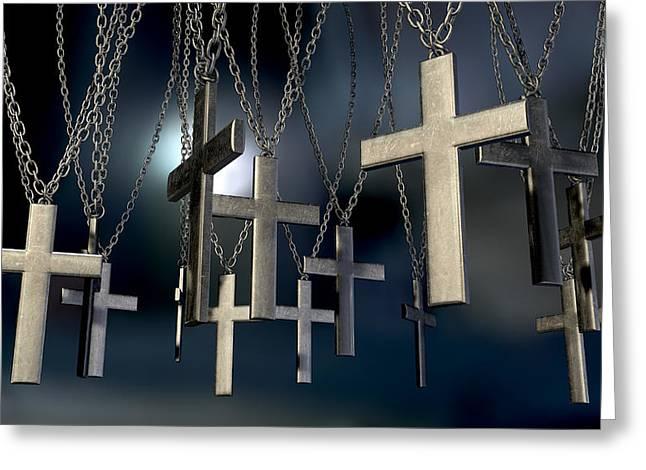 Hanging Crucifixes Far Greeting Card