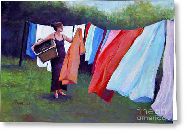 Hanging Laundry Greeting Card by Joyce A Guariglia