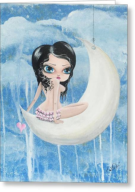 Hanging On The Moon Greeting Card by Oddball Art Co by Lizzy Love