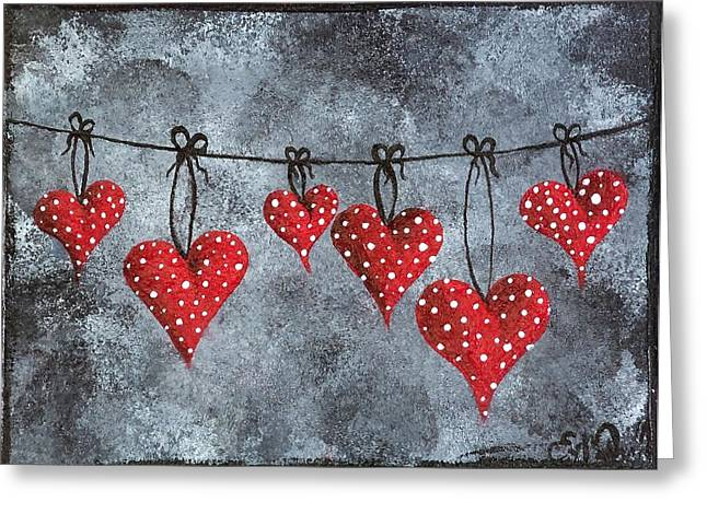 Hanging On To Love Greeting Card by Oddball Art Co by Lizzy Love