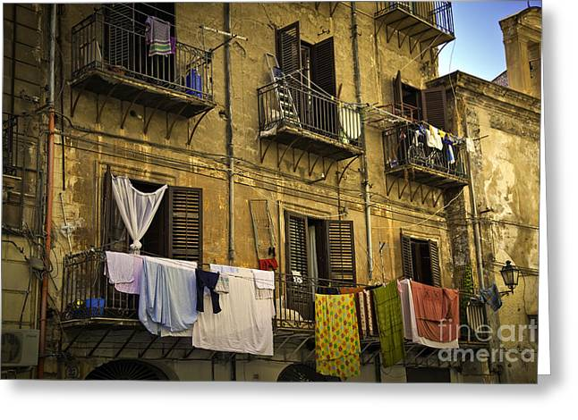 Hanging Out To Dry In Palermo  Greeting Card