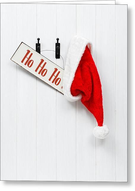 Hanging Santa Hat And Sign Greeting Card by Amanda Elwell