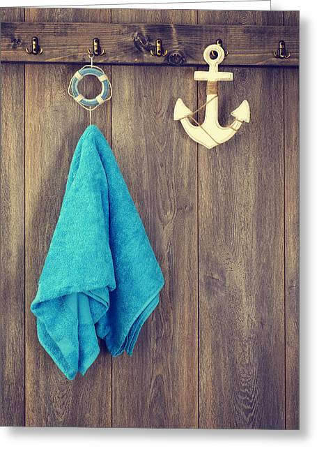 Hanging Towel Greeting Card by Amanda Elwell