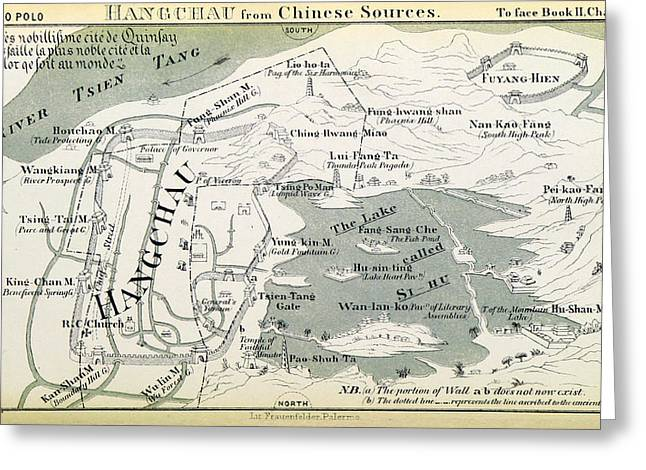 Hangzhou Map, Book Of Marco Polo, 13th Greeting Card by British Library