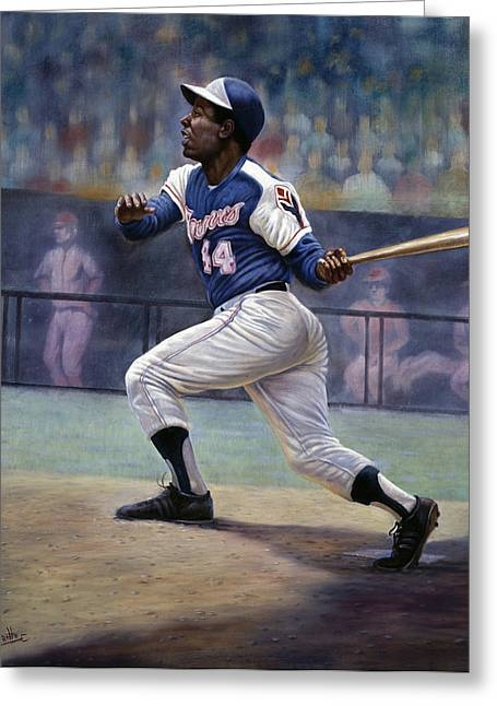 Hank Aaron Greeting Card by Gregory Perillo