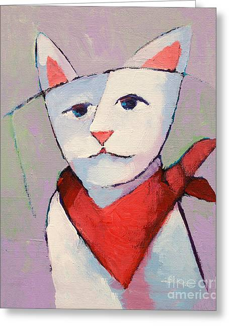 Hanky Cat Greeting Card by Lutz Baar