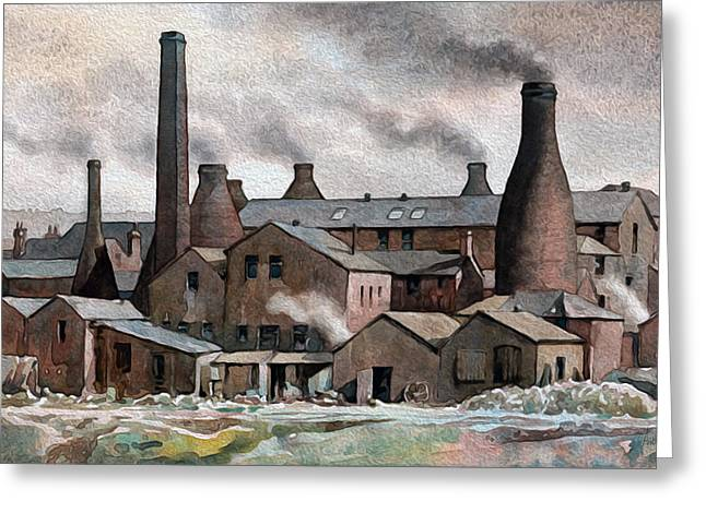 Hanley Pot Works Greeting Card by Anthony Forster