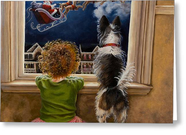 Hannah And Rocky's Magical Christmas Greeting Card by Cheryl Allen