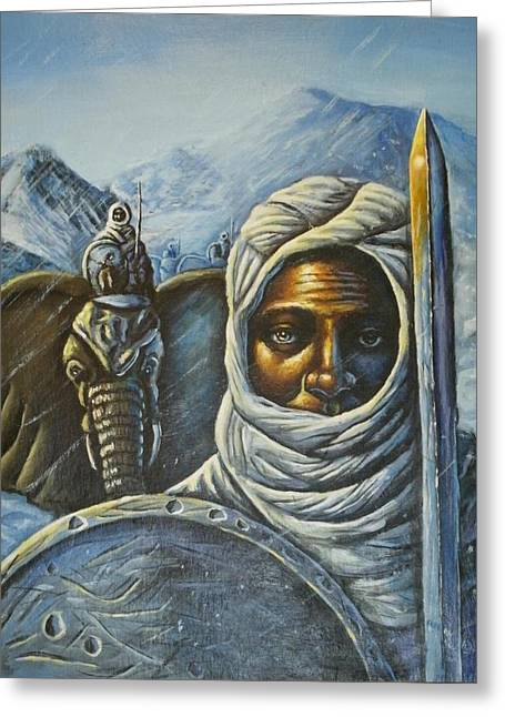 Hannibal Crossing The Alps Greeting Card by Barbara Gray
