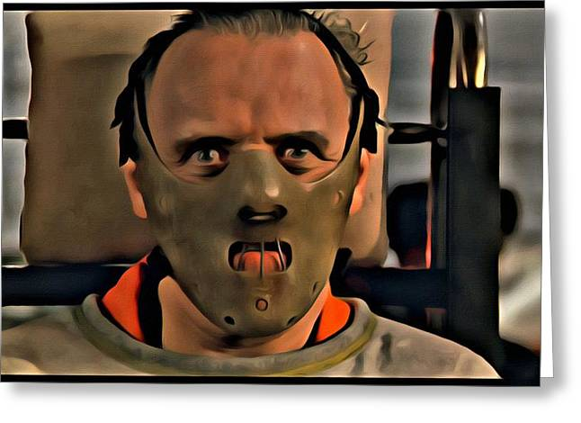 Greeting Card featuring the painting Hannibal Lecter by Florian Rodarte