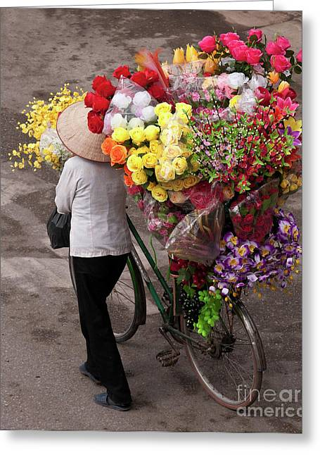 Hanoi Flowers 01 Greeting Card by Rick Piper Photography