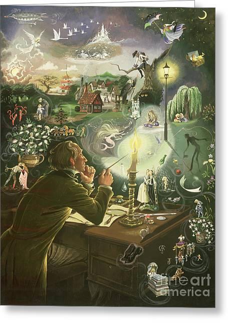 Hans Christian Andersen Greeting Card by Anne Grahame Johnstone