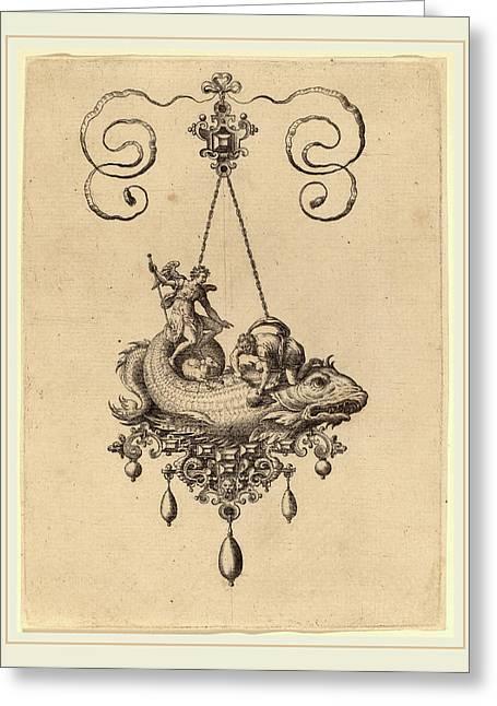 Hans Collaert Flemish, 1566-1628, Jewelry Design Greeting Card