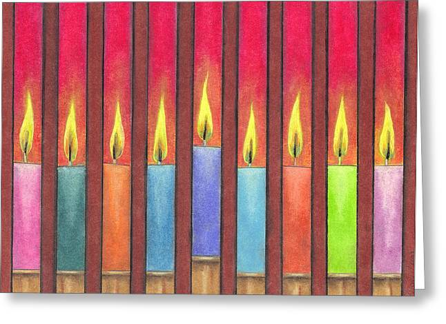 Hanukkah Candles Greeting Card by Estefan Gargost