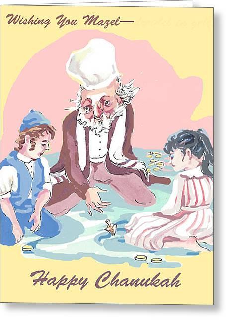 Hanukkah Joy Greeting Card by Shirl Solomon