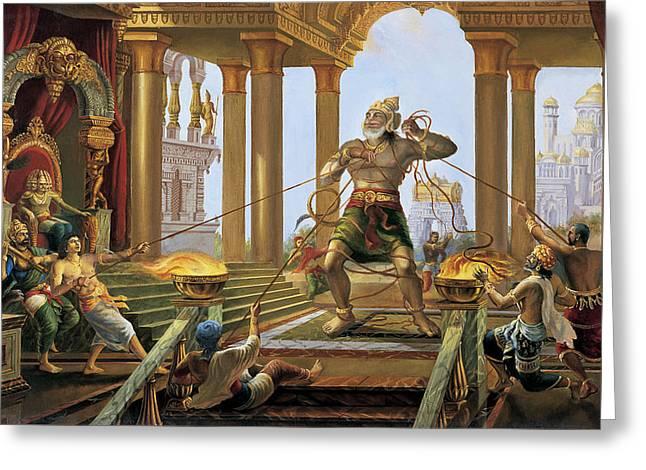 Hanuman In Ravana's Palace Greeting Card by Vrindavan Das