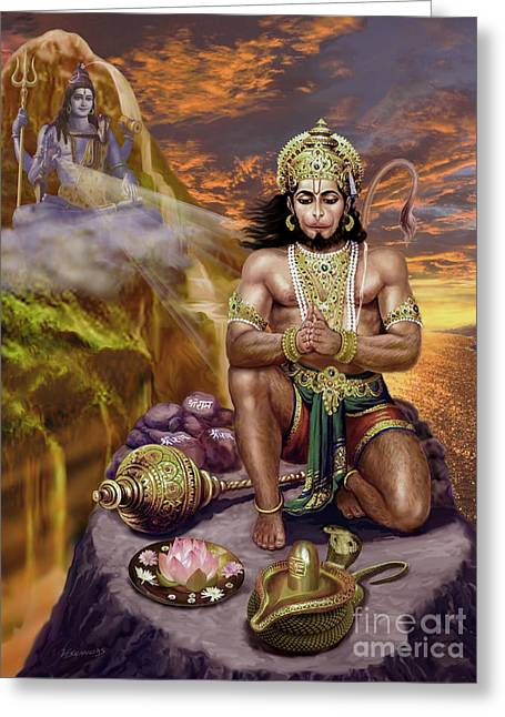Hanuman Receives Lord Shiva's Blessings Greeting Card