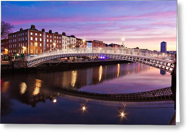 Hapenny Bridge At Dawn - Dublin Greeting Card