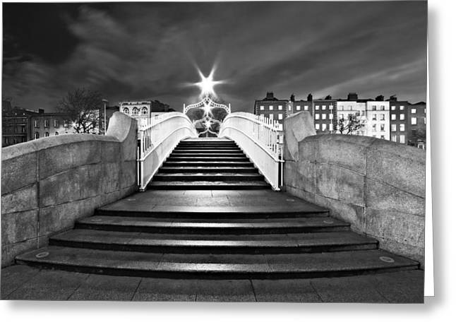 Ha'penny Bridge Steps At Night - Dublin - Black And White Greeting Card
