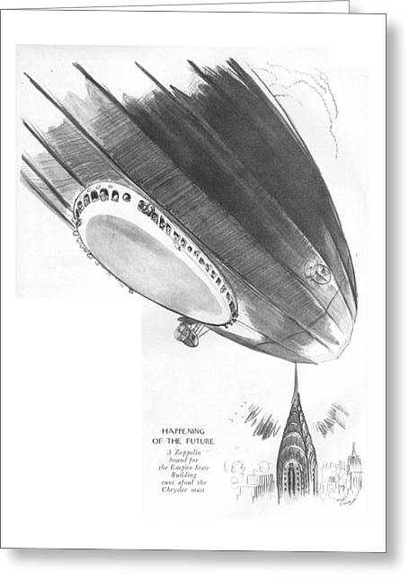 Happening Of The Future A Zeppelin Bound Greeting Card by Garrett Price