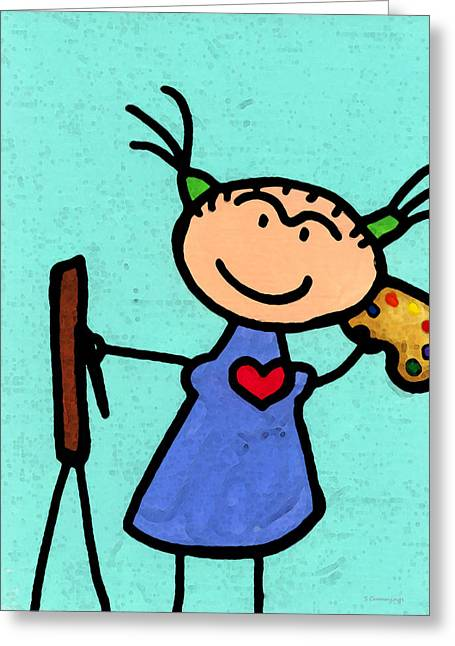 Happi Arte 4 - Frida Kahlo Artist Greeting Card by Sharon Cummings