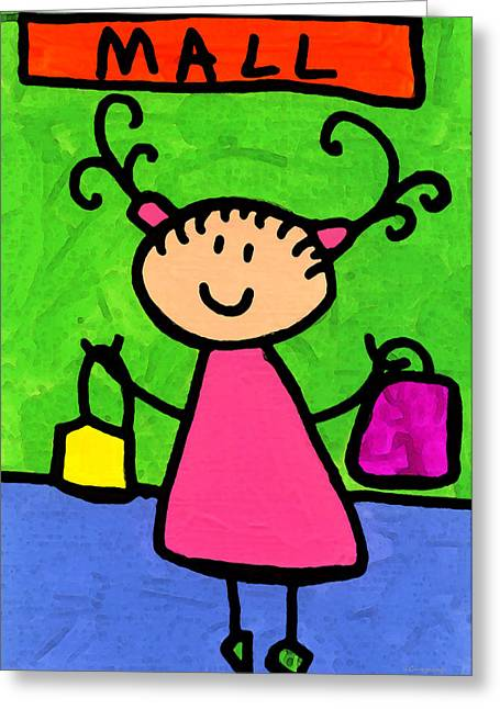 Happi Arti 5 - Shopaholic Little Girl Art Greeting Card by Sharon Cummings
