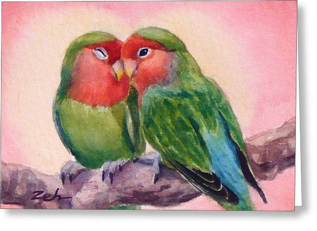 Happiness Forever Lovebirds Greeting Card by Janet  Zeh