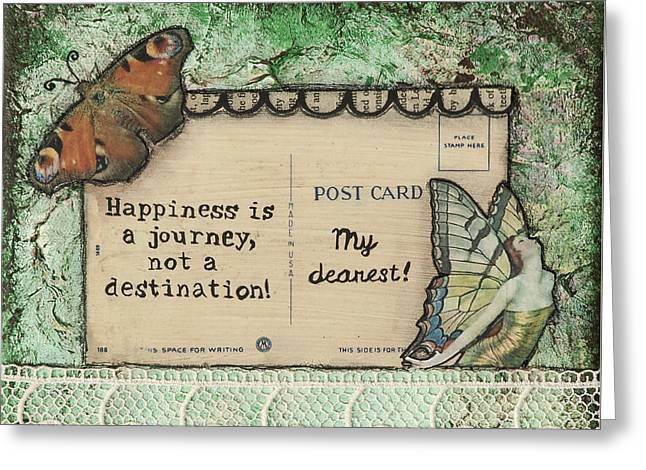 Happiness Is A Journey Inspirational Mixed Media Folk Art Greeting Card