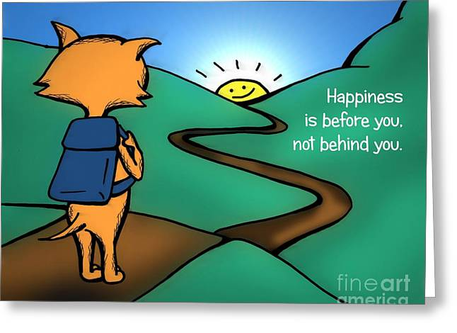 Greeting Card featuring the drawing Happiness Is Before You by Pet Serrano